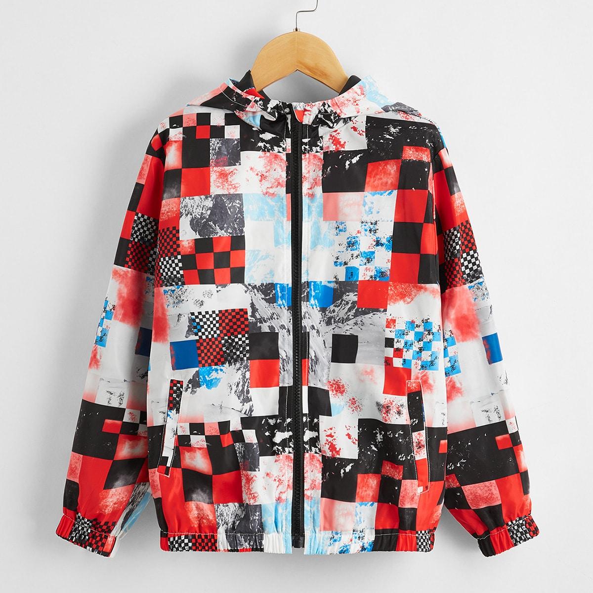 Контрастная куртка-ветровка в клетку с капюшоном и молнией для мальчиков