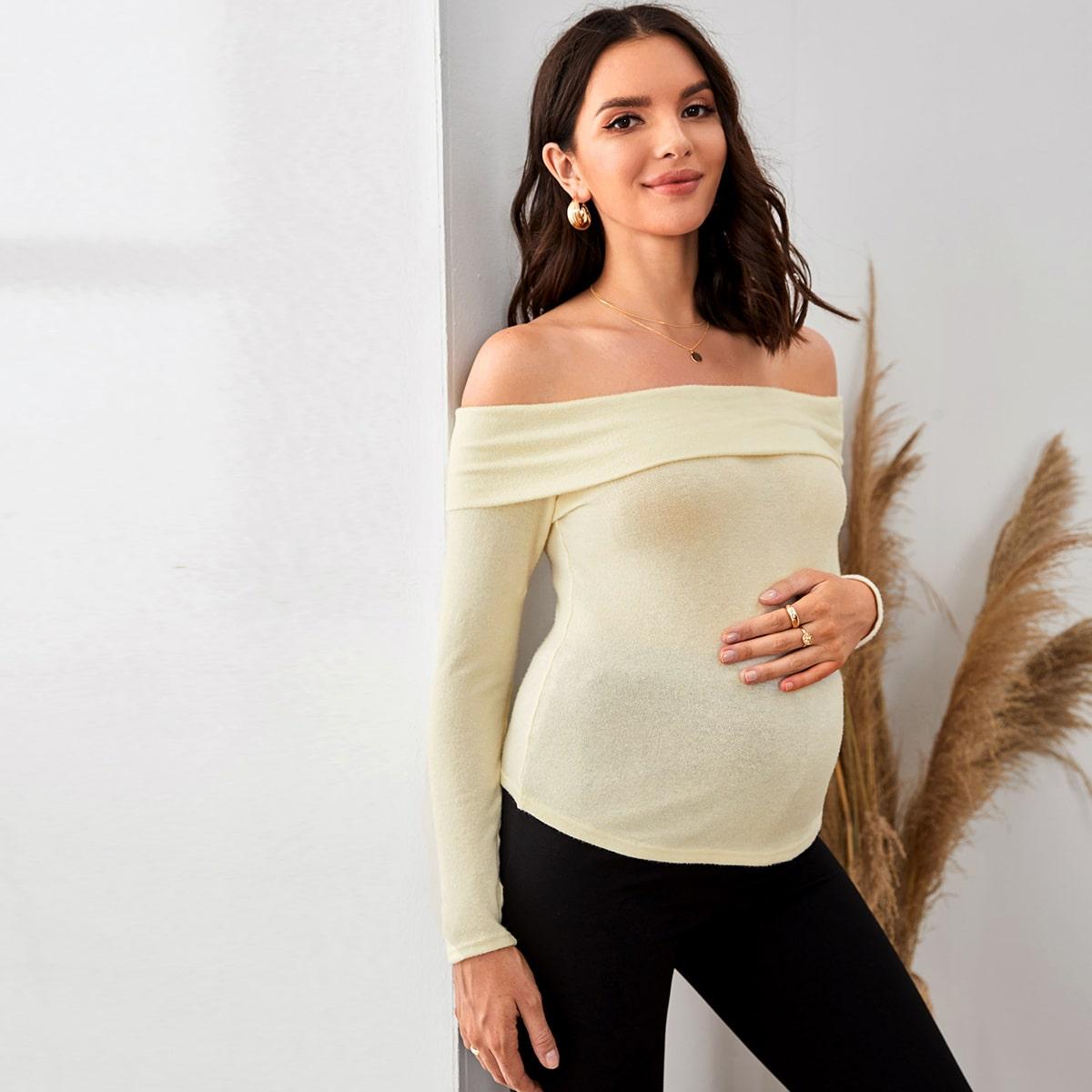 Однотонный топ с открытыми плечами для беременных