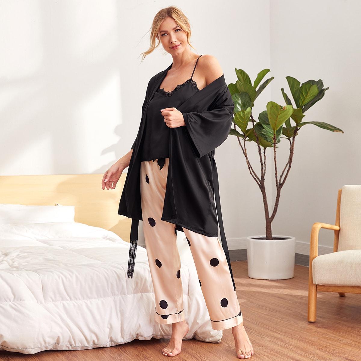 многоцветный с бахромой В горошек Элегантный Ночная пижама
