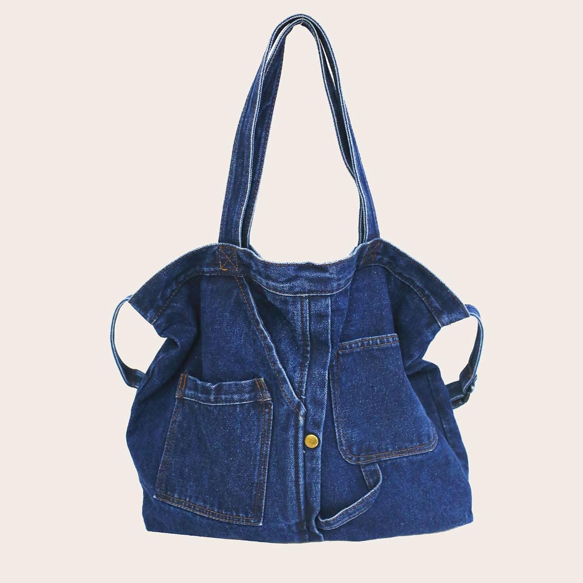 Джинсовая сумка-тоут с карманом