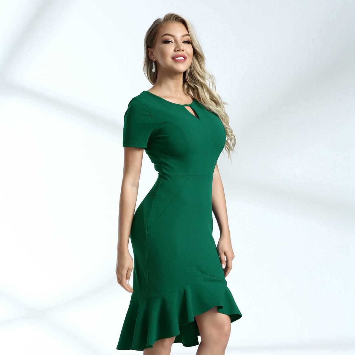 асимметричное платье-русалка