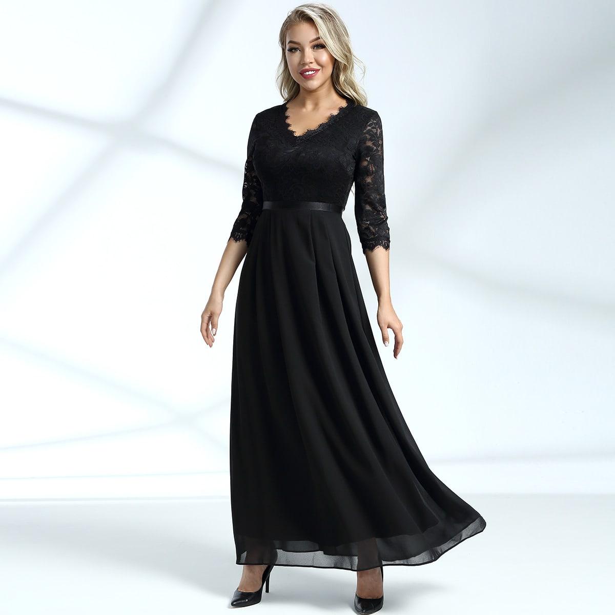 шифоновое платье с молнией сзади и кружевом