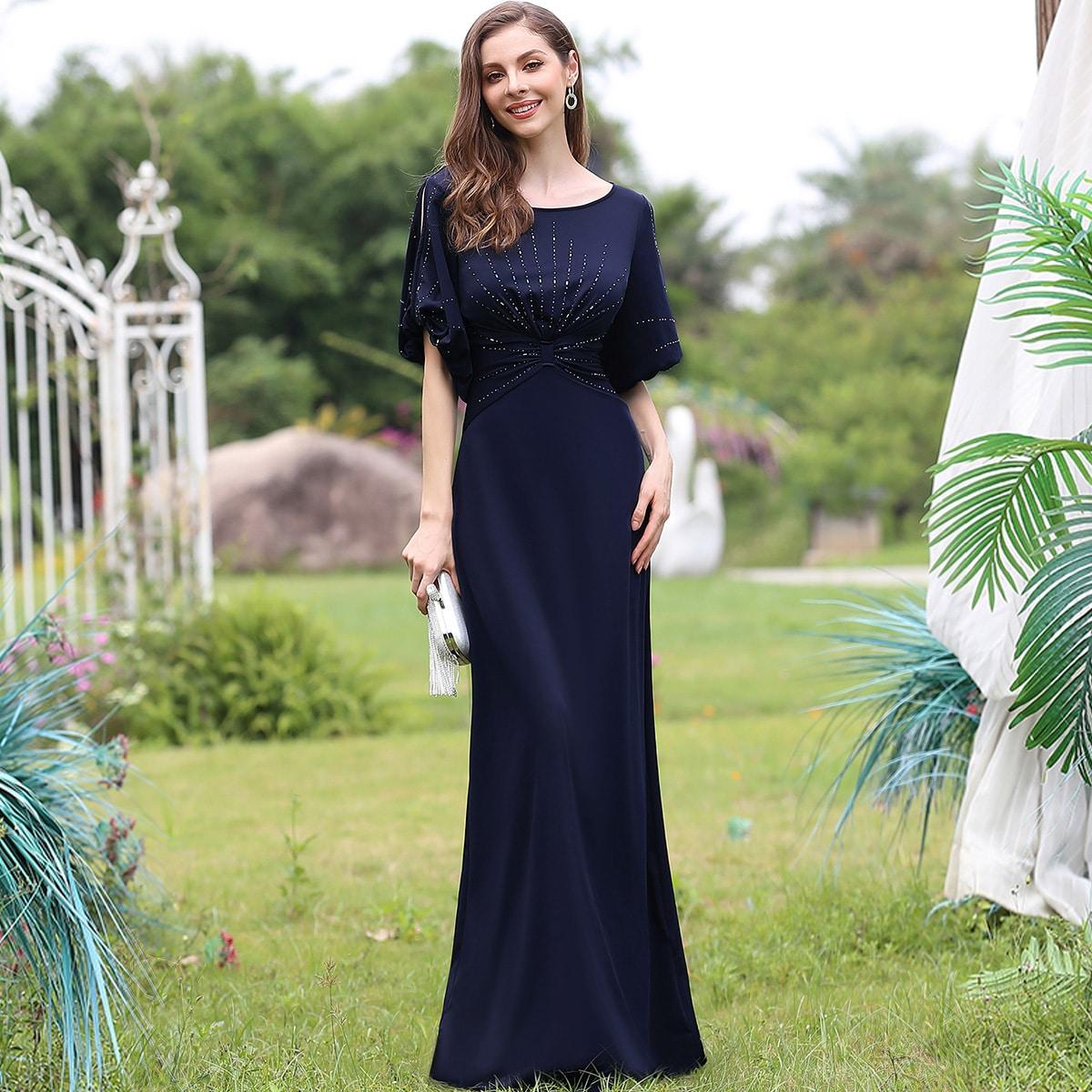 Платье с драпировкой и блестками