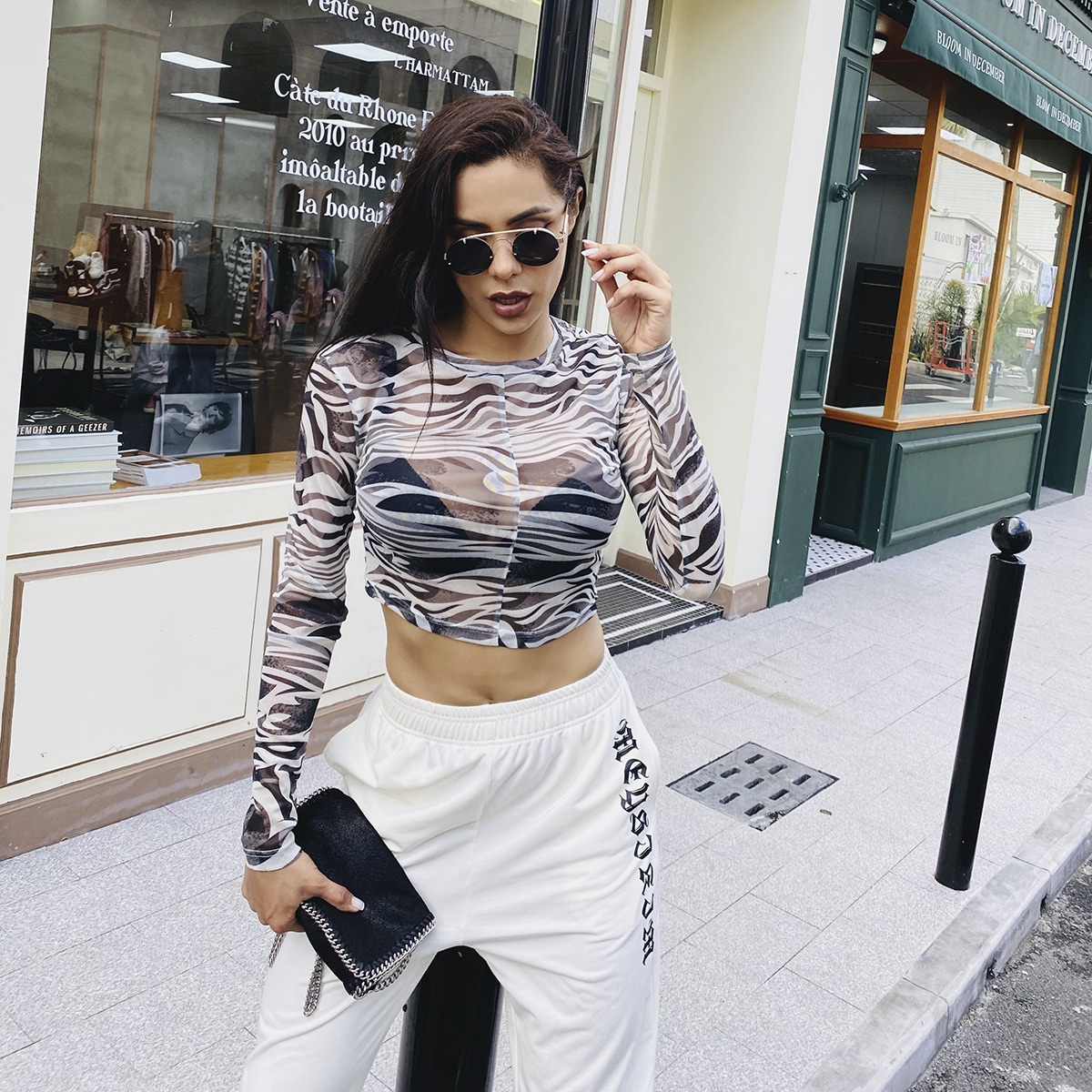 Zwart & wit Sexy Zebra print Dame top Zeeg