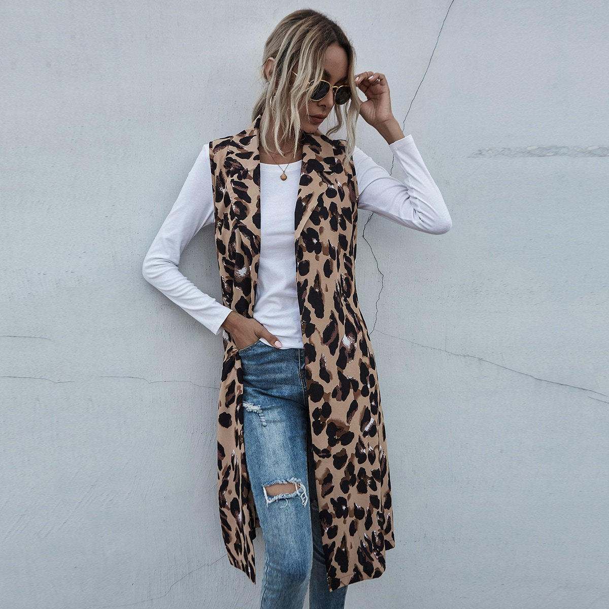 Многоцветный с поясом Леопардовый Повседневный Пальто