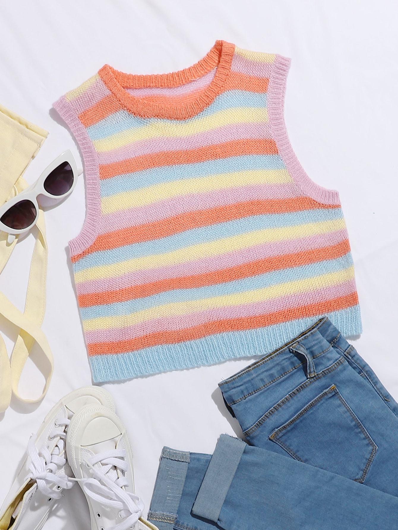 Rainbow Striped Crop Sweater Vest thumbnail