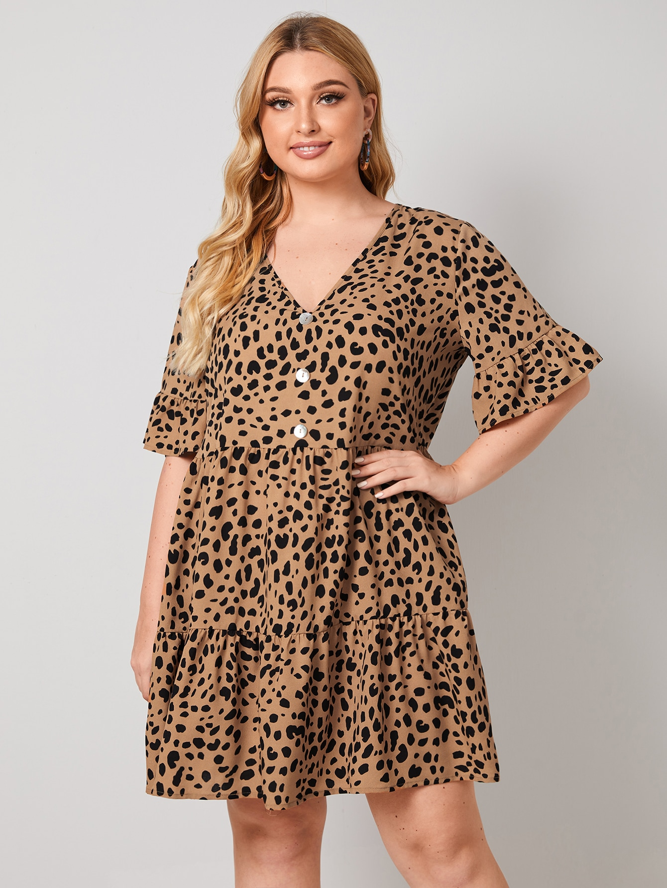 Plus Flounce Sleeve Buttoned Front Allover Print Smock Dress thumbnail