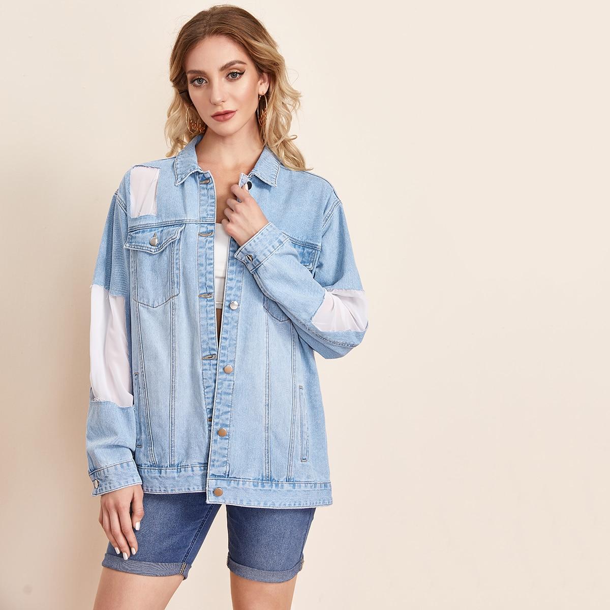Контрастная джинсовая куртка с пуговицами