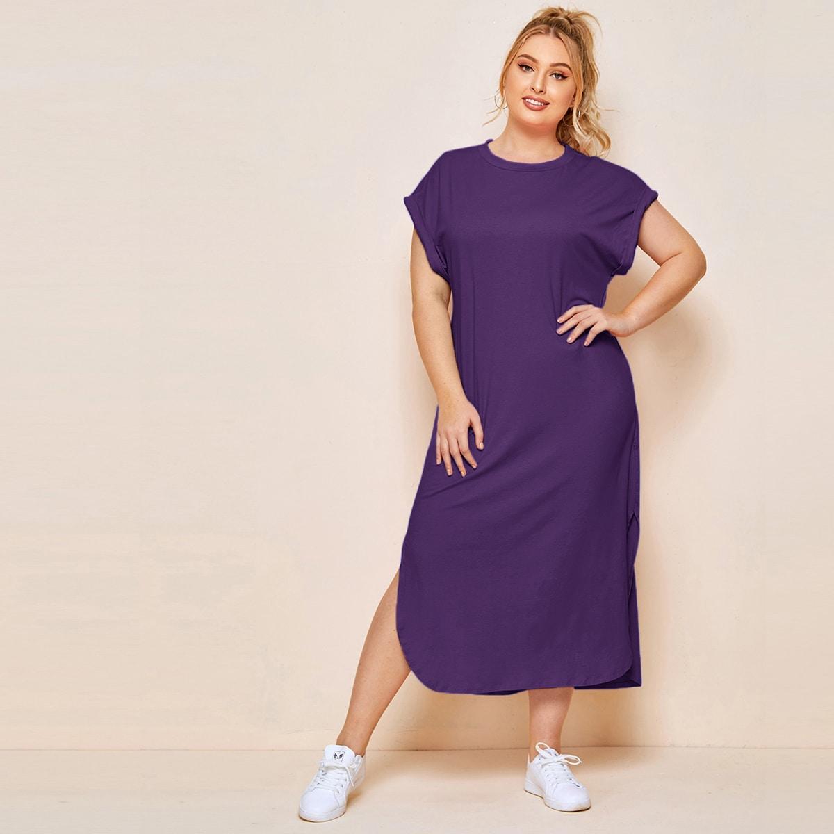 Платье-футболка размера плюс с оригинальным рукавом