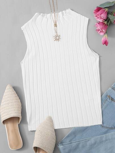 Plus Mock Neck Solid Sleeveless Knit Top