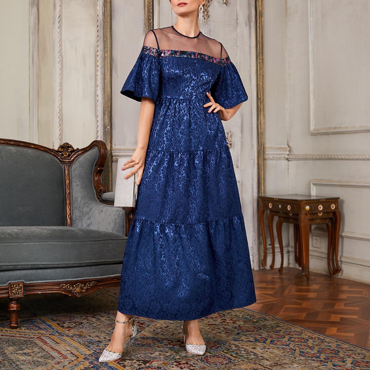 Жаккардовое платье с сетчатой вставкой и блестками
