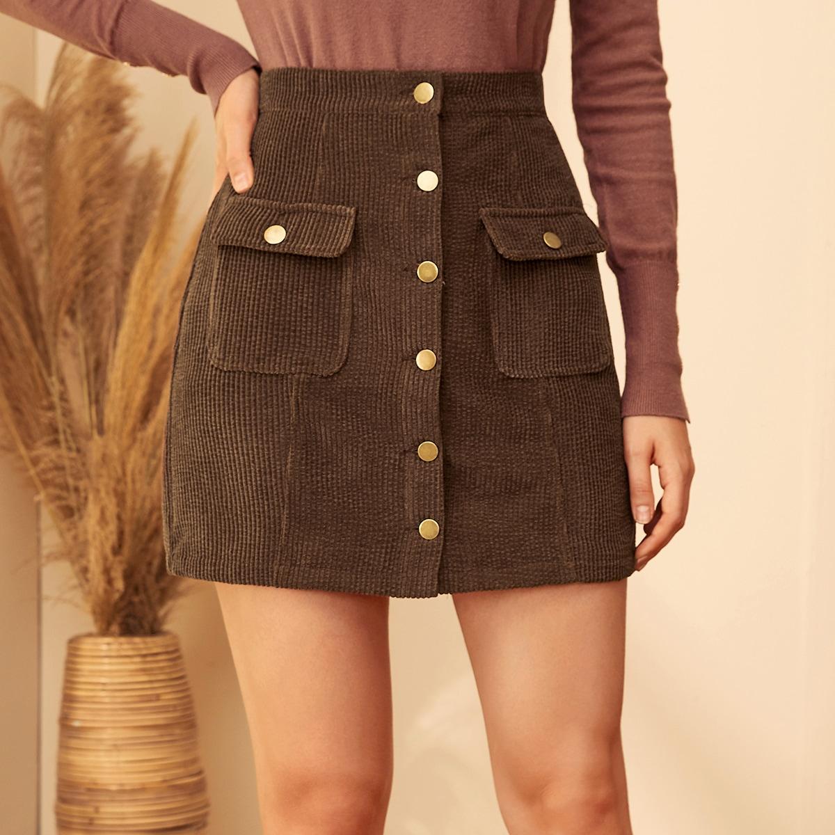 Вельветовая юбка на пуговицах с карманом