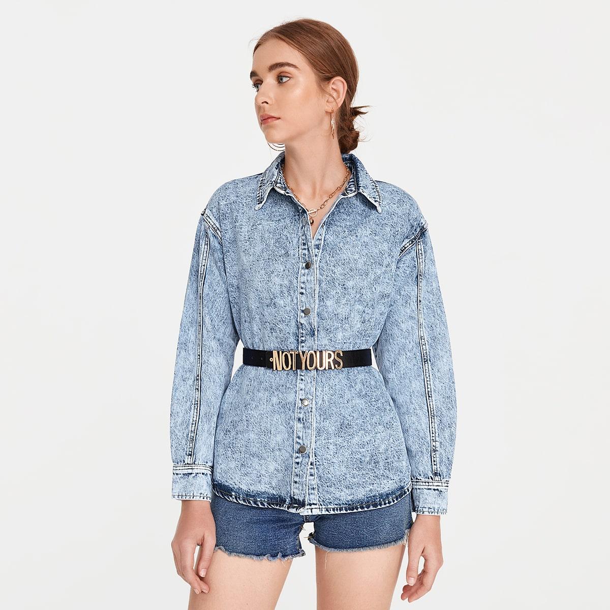 Джинсовая куртка с пуговицами без пояса