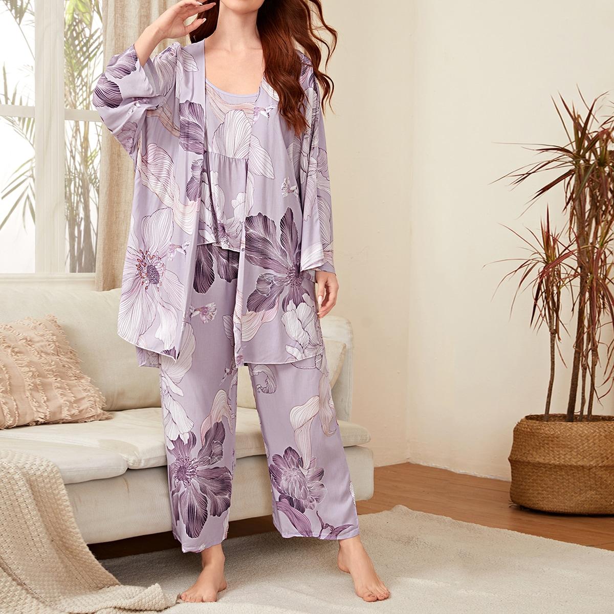 3шт пижама на бретелях и халат с цветочным принтом