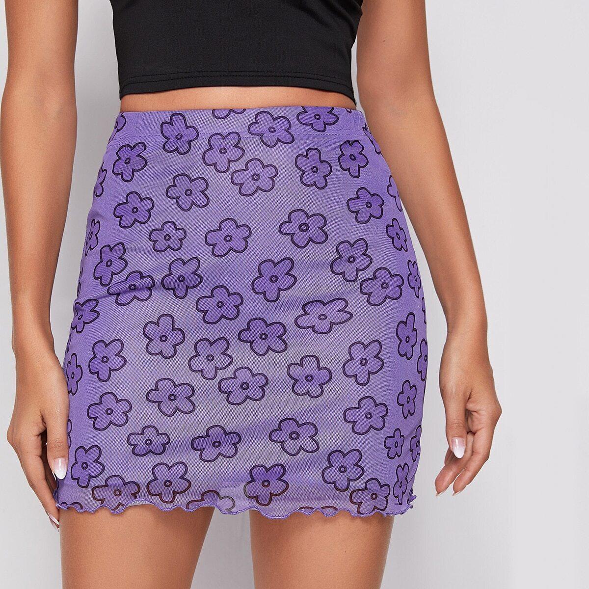 Сетчатая юбка с цветочным принтом и оригинальной отделкой