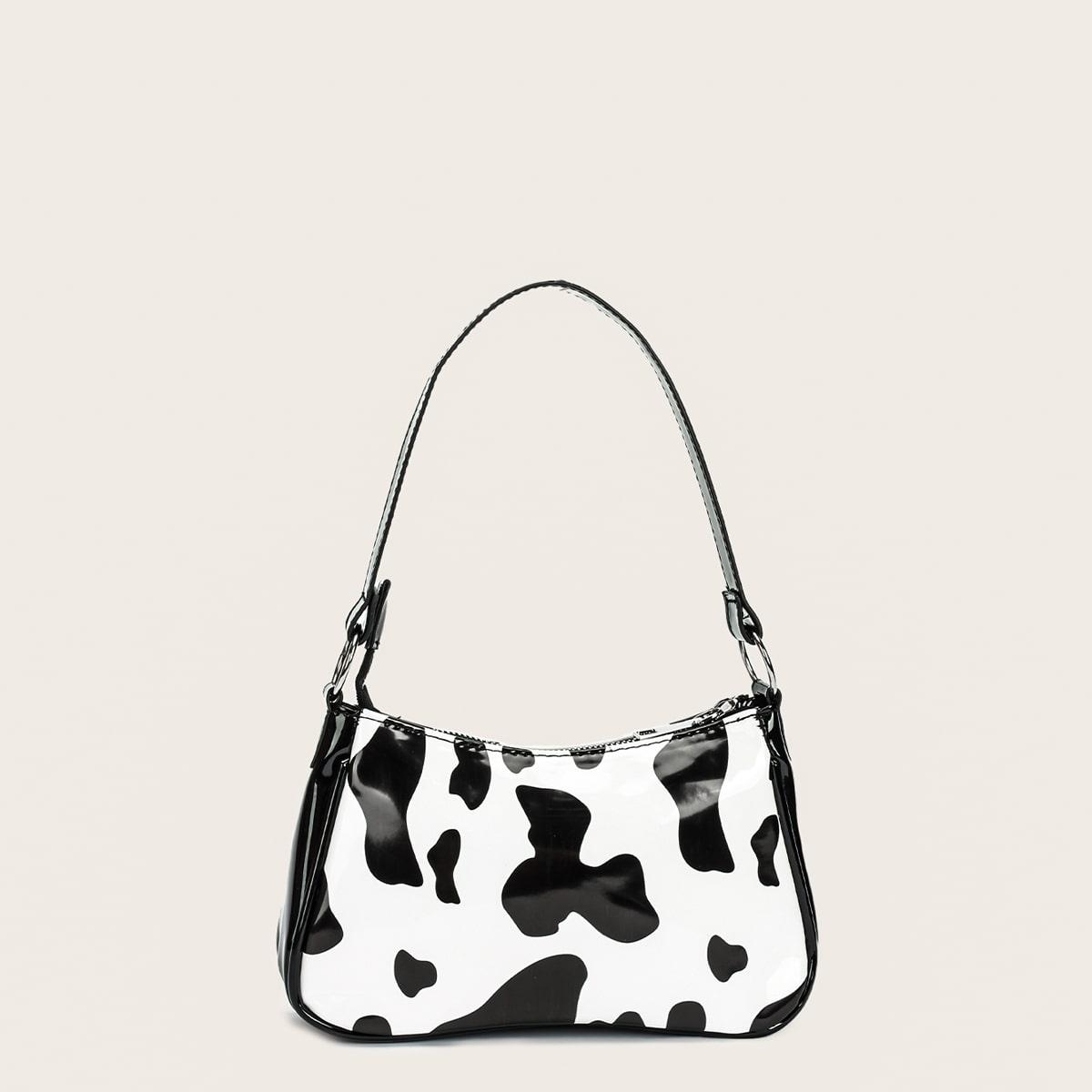 Сумка-багет с коровьим рисунком