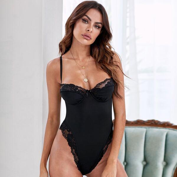 Contrast Lace Trim Underwire Cami Bodysuit, Black