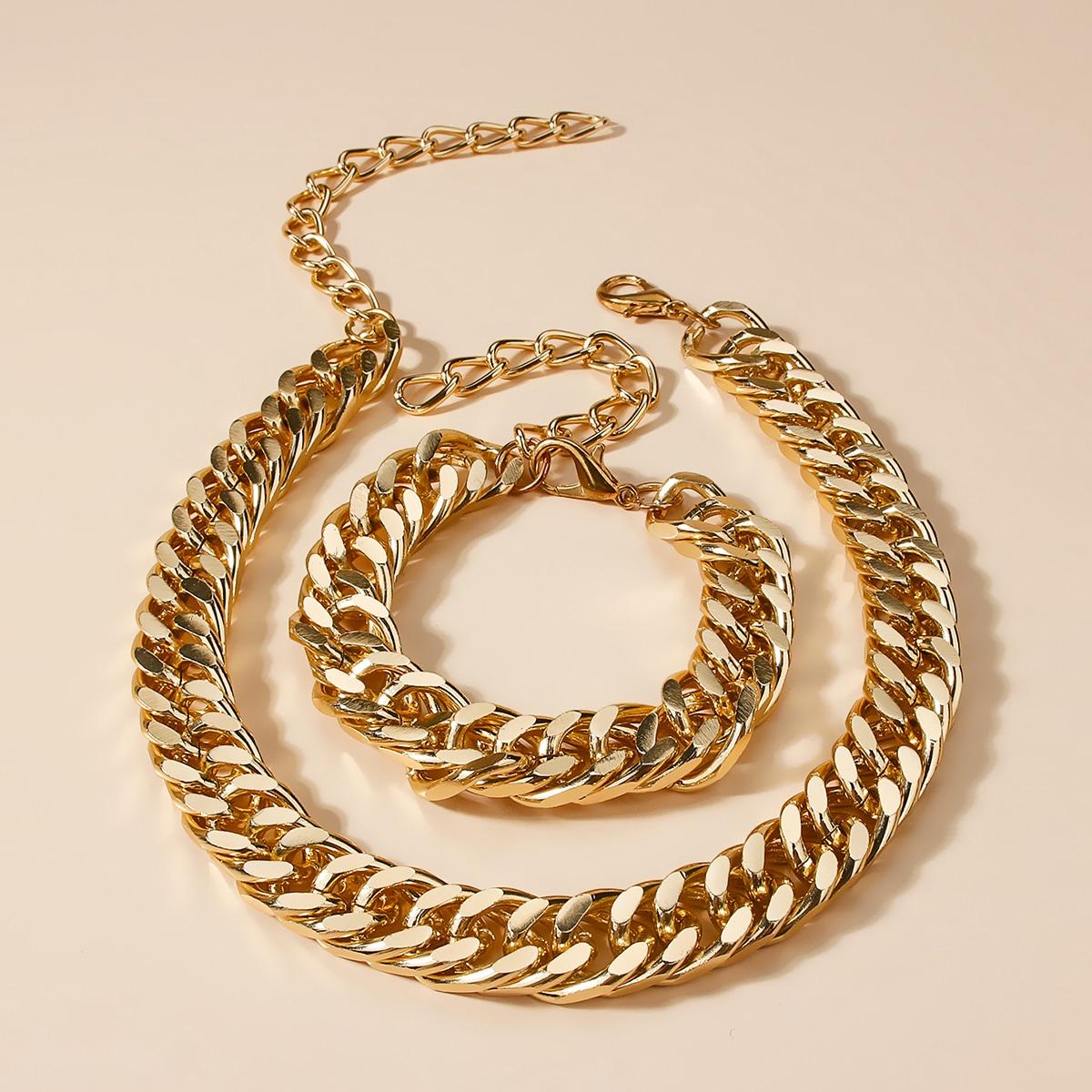 2 Stücke Armband mit metallischer Kette & Halskette