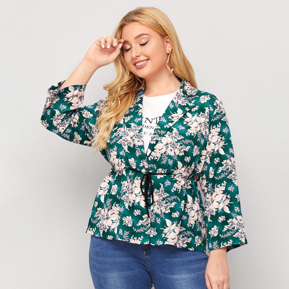 Пиджак размера плюс на кулиске с цветочным принтом