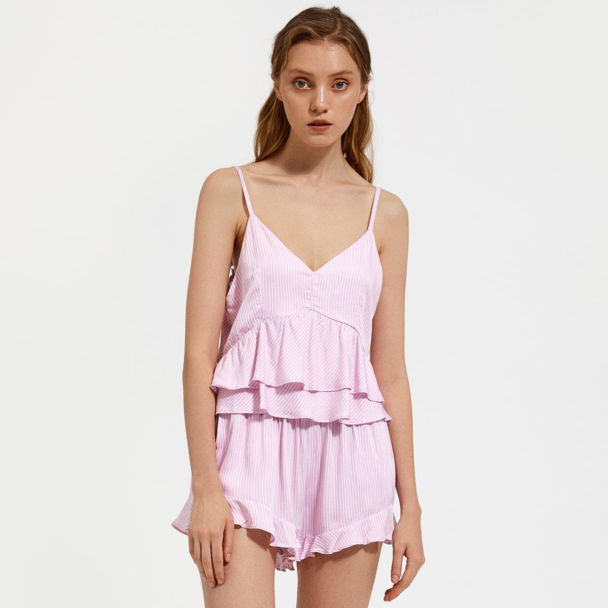 PJM пижама в полоску с оборкой
