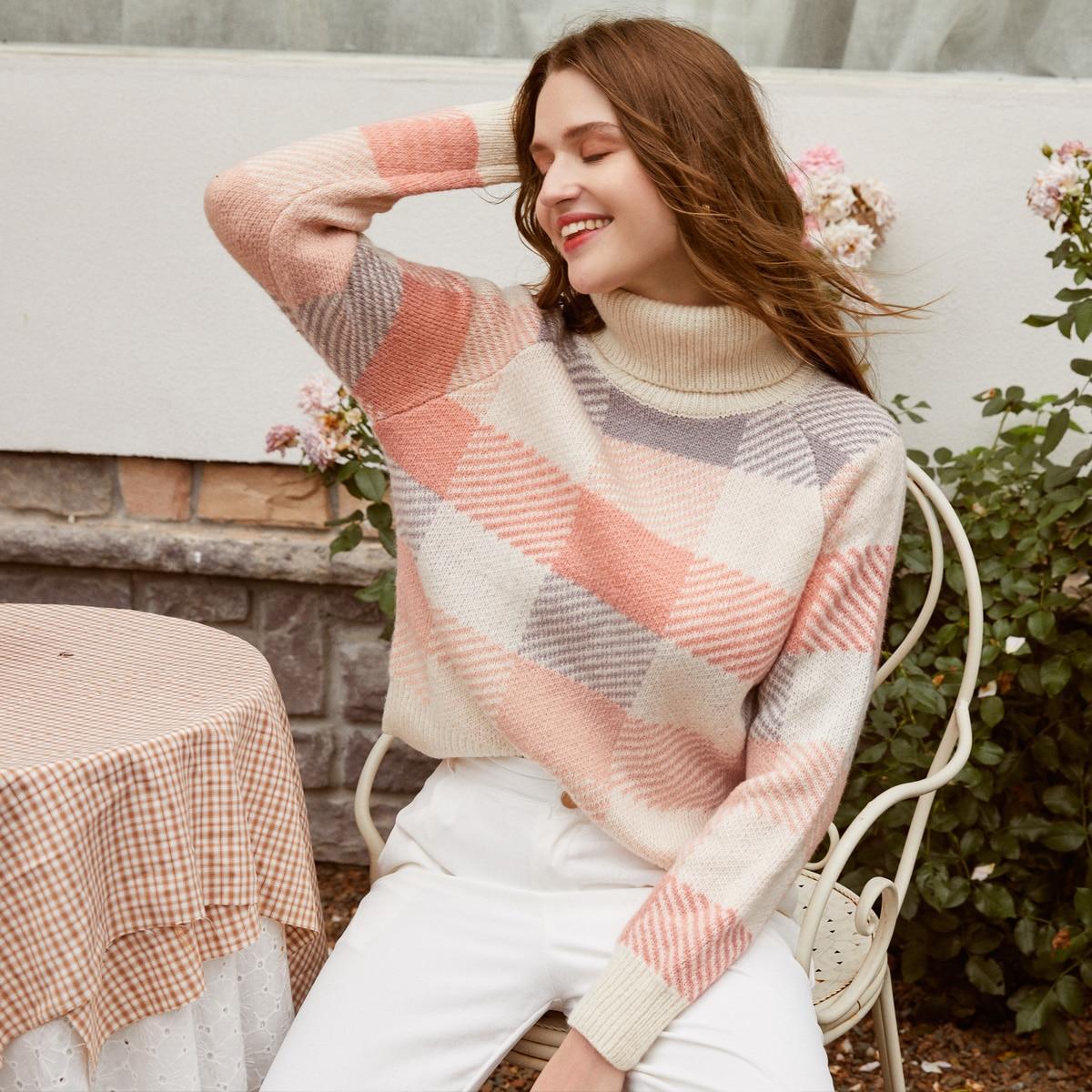 свитер с рукавом реглан и высоким воротником
