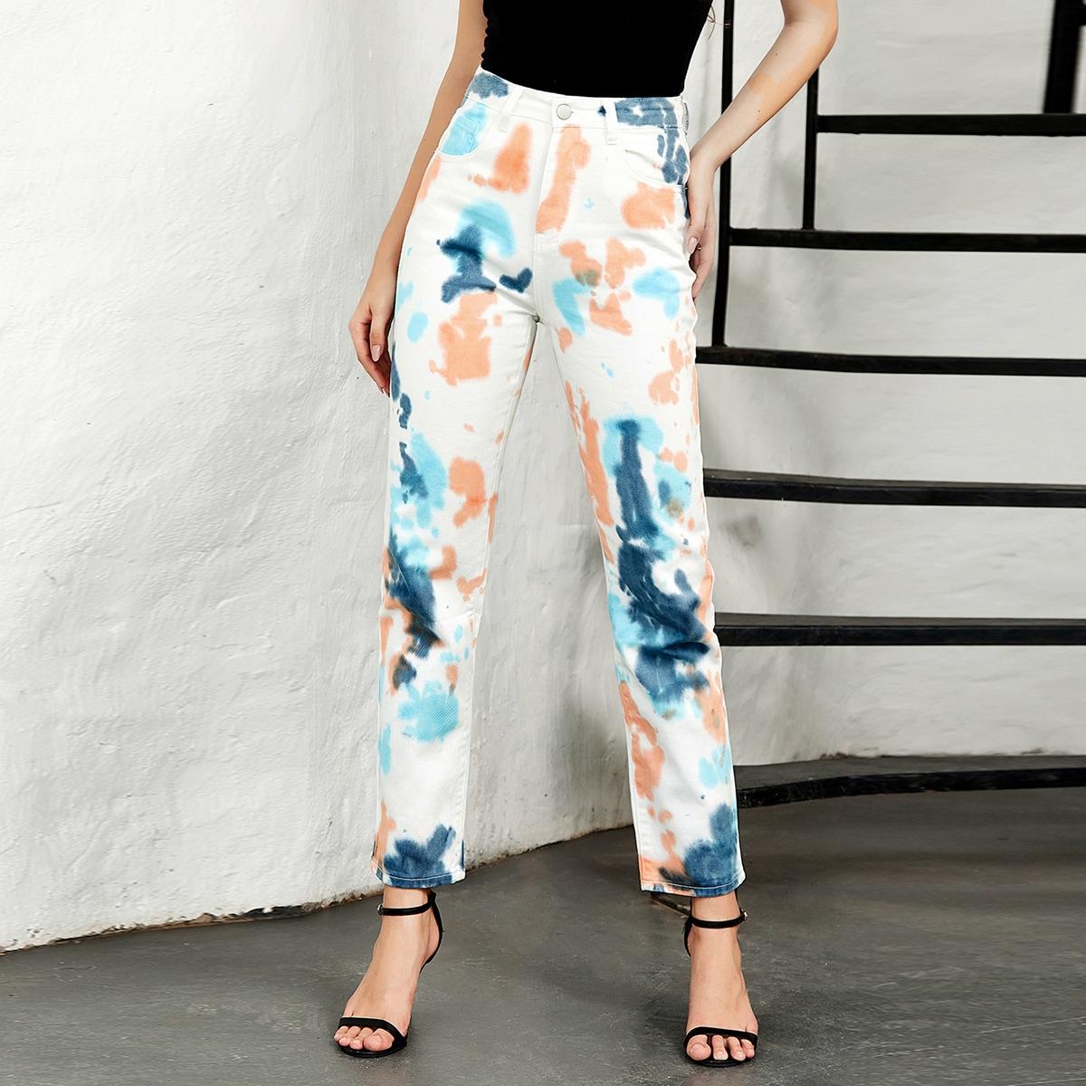 Разноцветные джинсы с высокой талией
