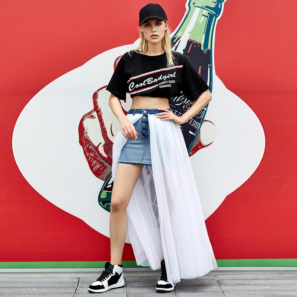 Сетчатая джинсовая юбка с пуговицами