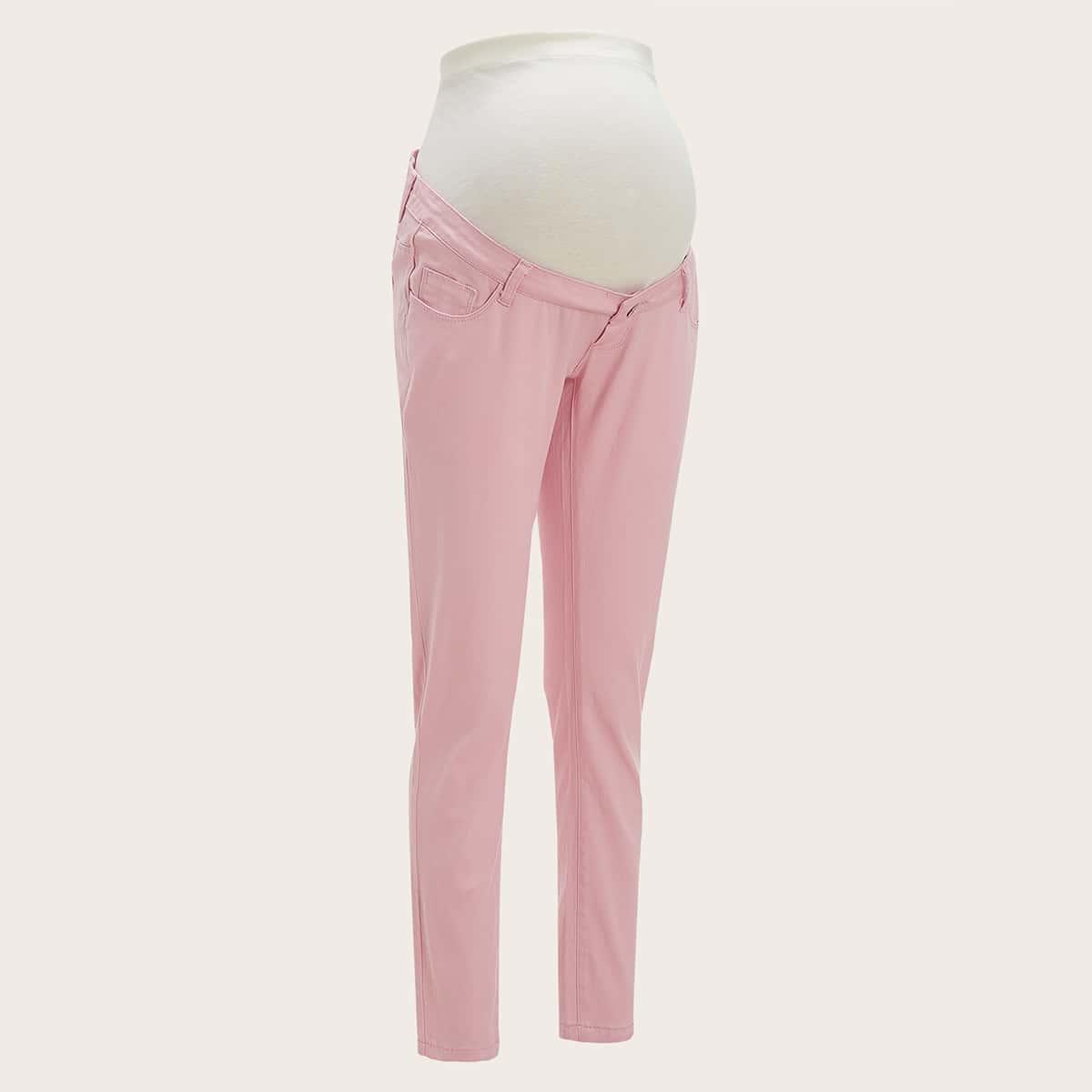 Однотонные джинсы для беременных с карманом