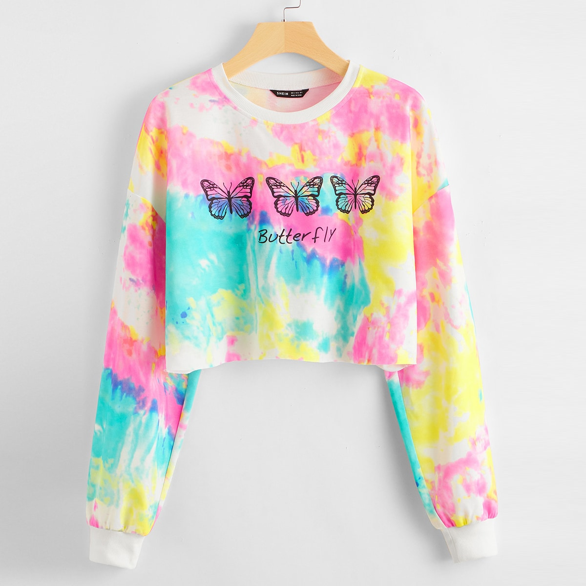 Drop Shoulder Letter and Butterfly Print Tie Dye Crop Pullover, SHEIN  - buy with discount