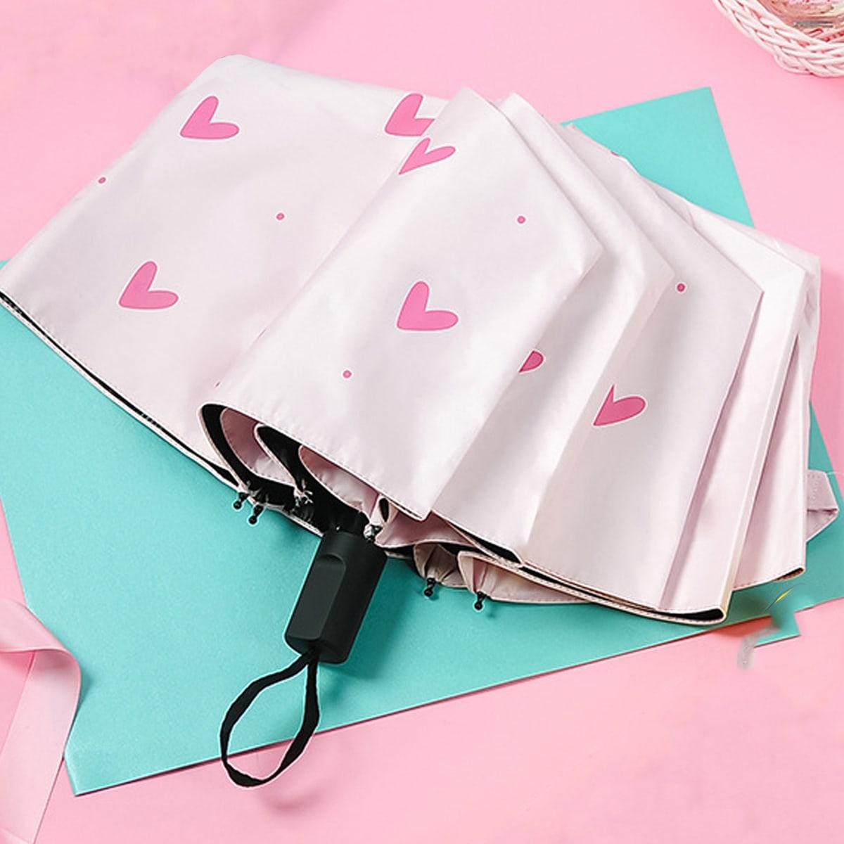Зонтик с принтом сердечка