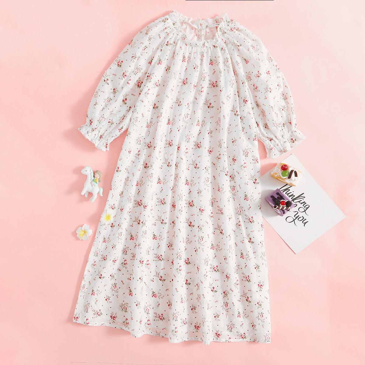 Ночная рубашка с цветочным принтом для девочек