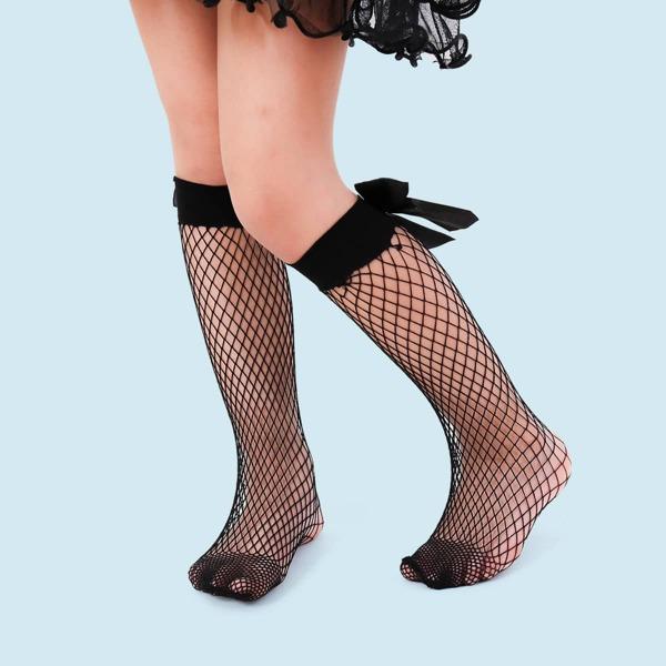 Toddler Girls Bow Decor Fishnet Socks, Black