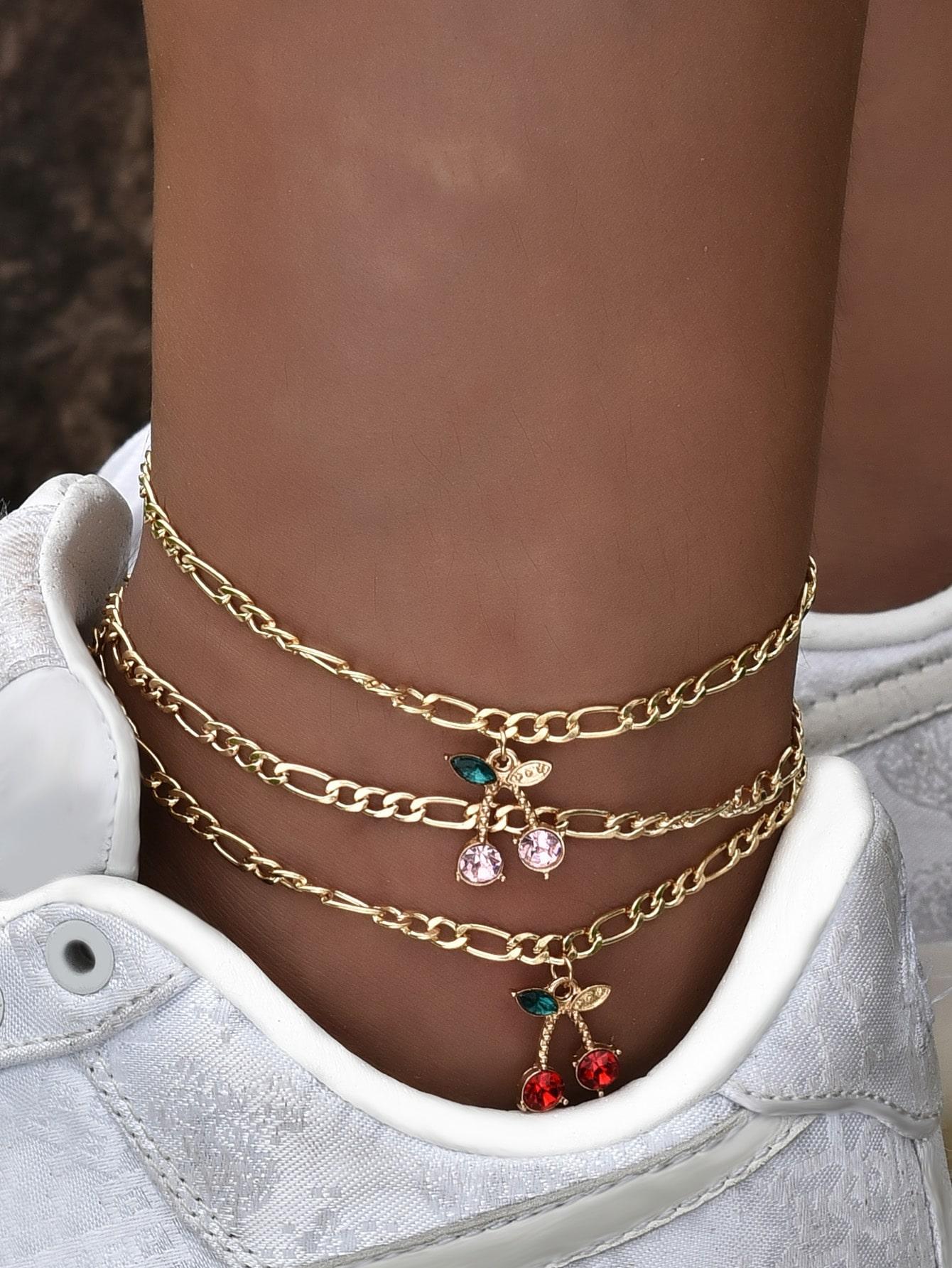 3pcs Cherry Charm Anklet thumbnail