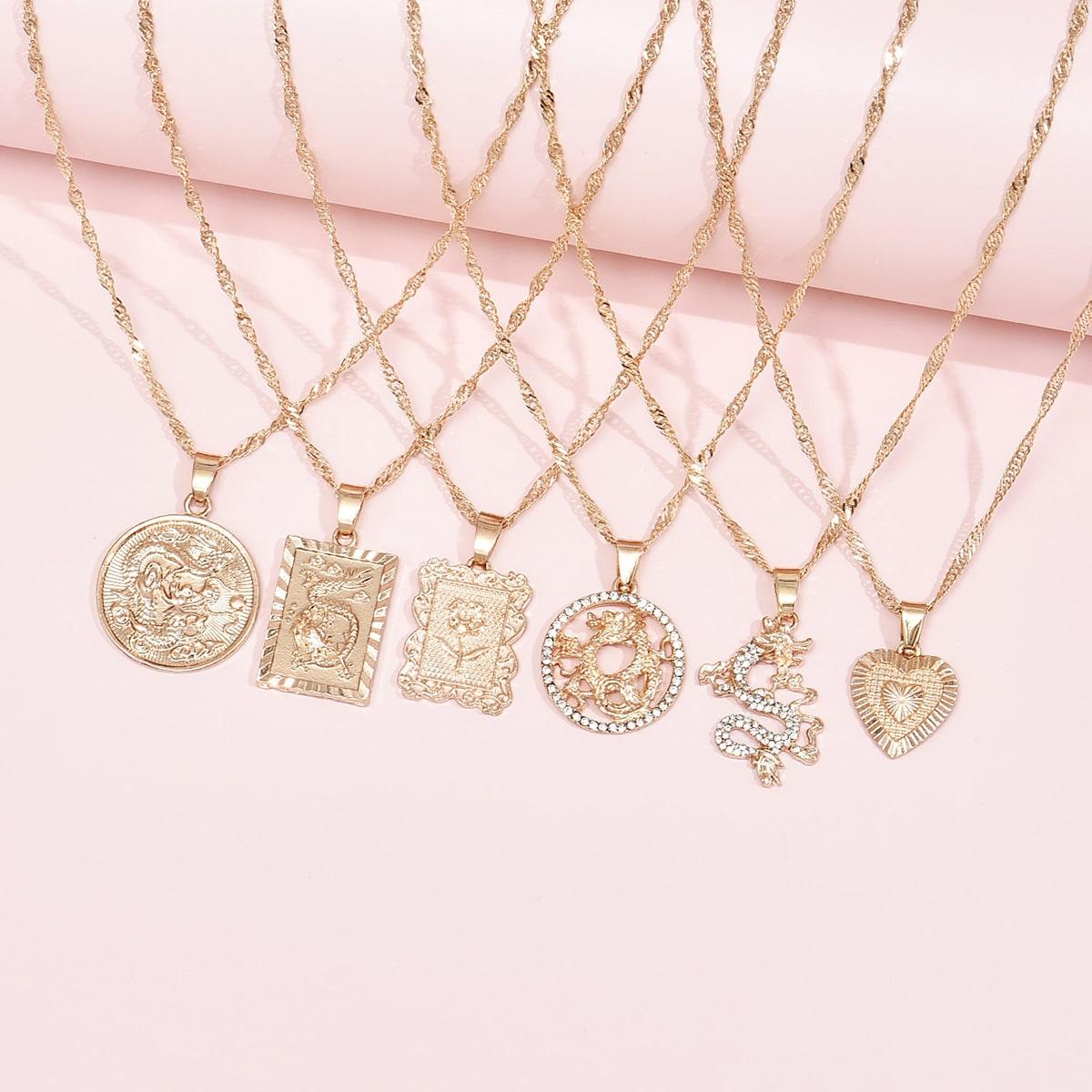 6pcs Chinese Dragon Pendant Necklace
