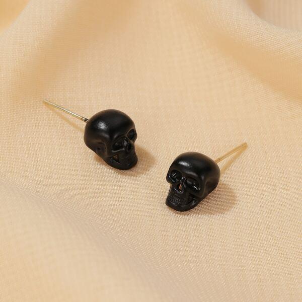 Skull Decor Stud Earrings, Black