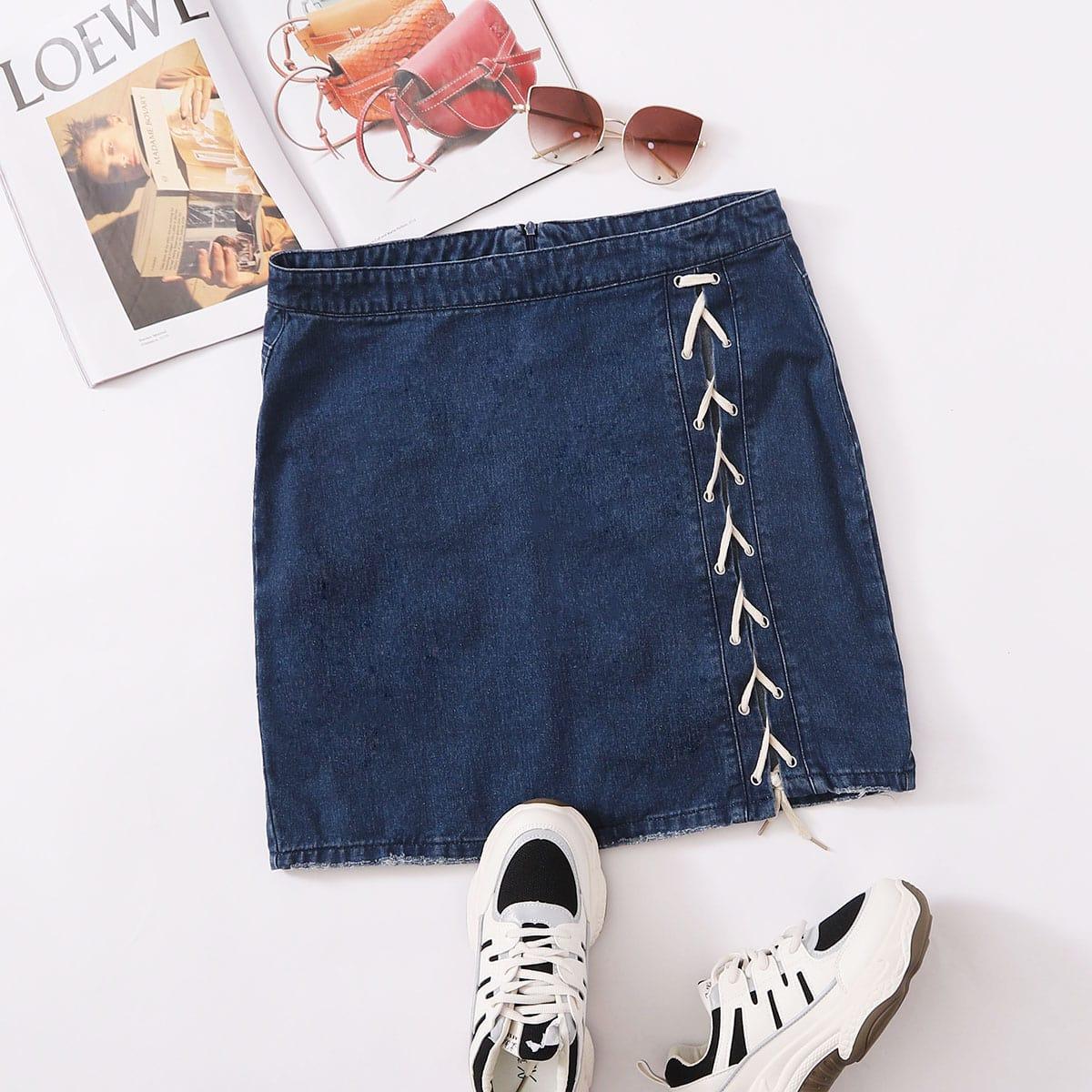 Джинсовая юбка на шнуровке размера плюс