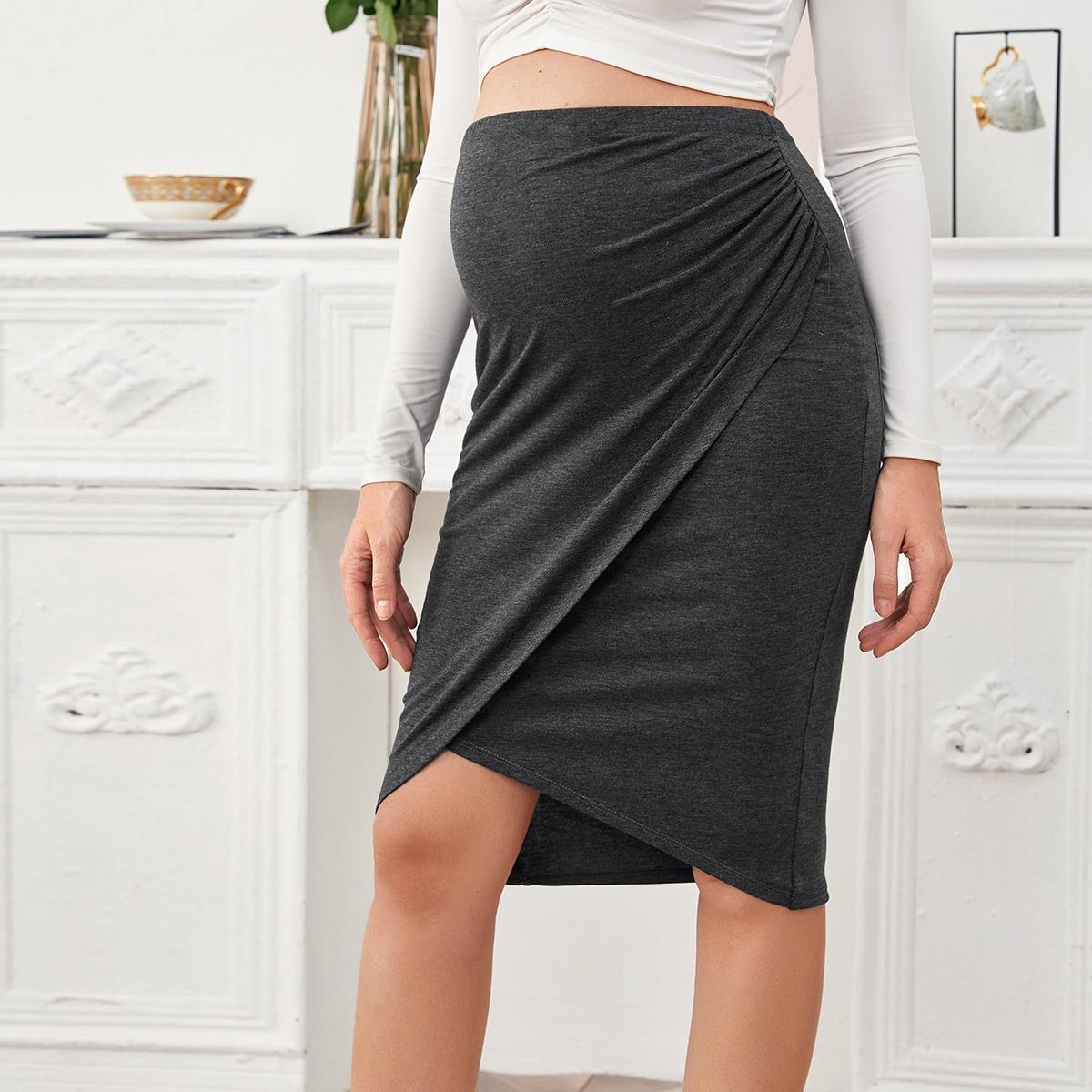 Асимметричная однотонная юбка для беременных