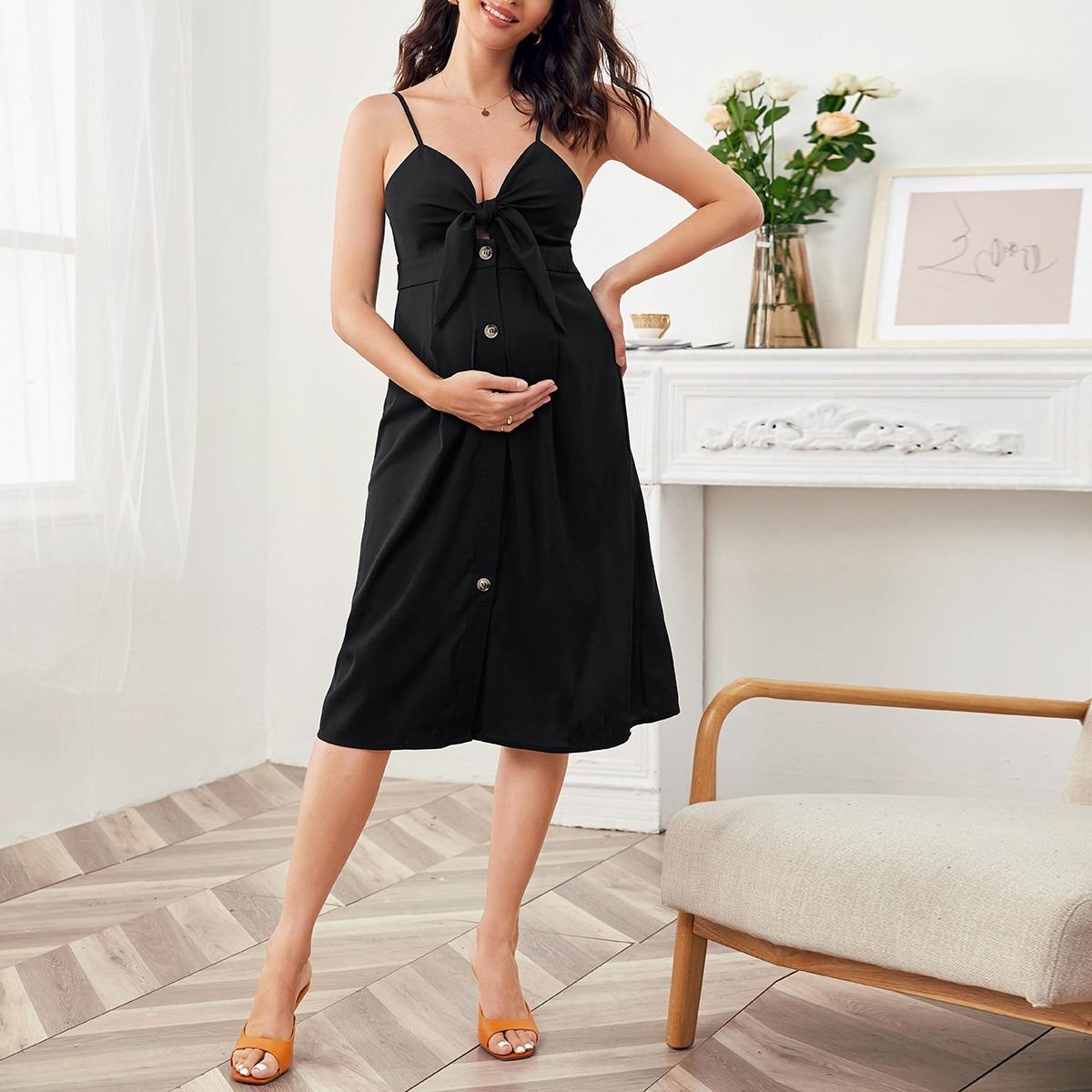 Платье на бретелях с пуговицами для беременных