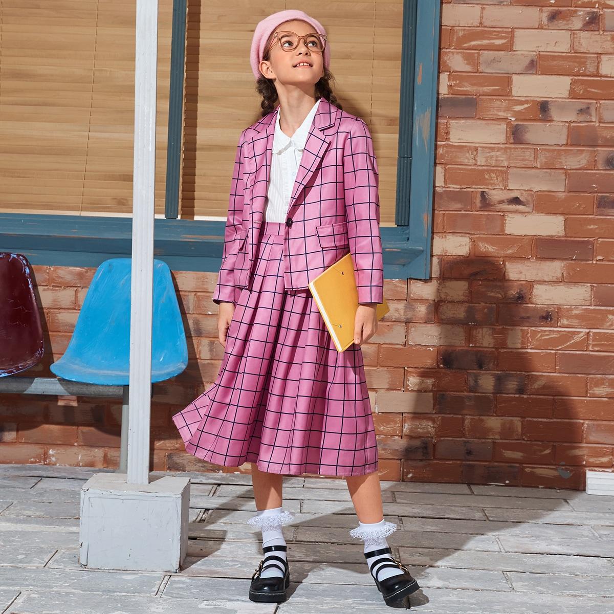 Расклешенная юбка и пиджак в клетку для девочек