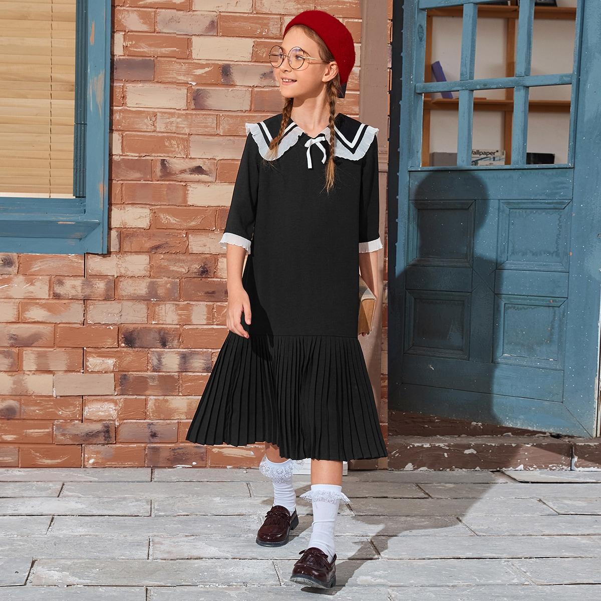 Плиссированное платье с бантом для девочек