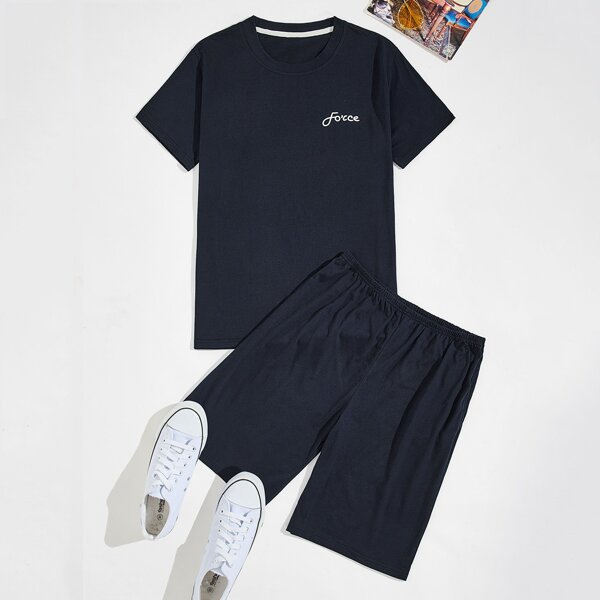 Men Letter Graphic Tee With Shorts PJ Set, Navy blue