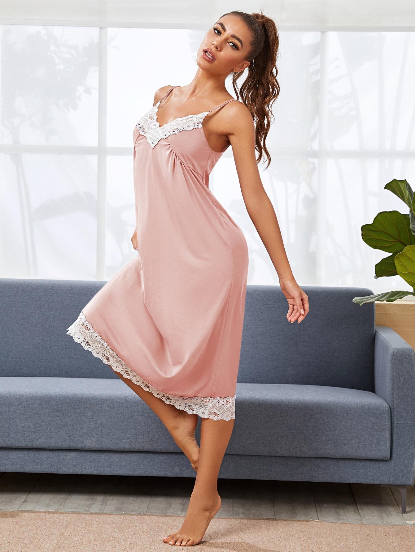 Lace Trim Slip Night Dress thumbnail