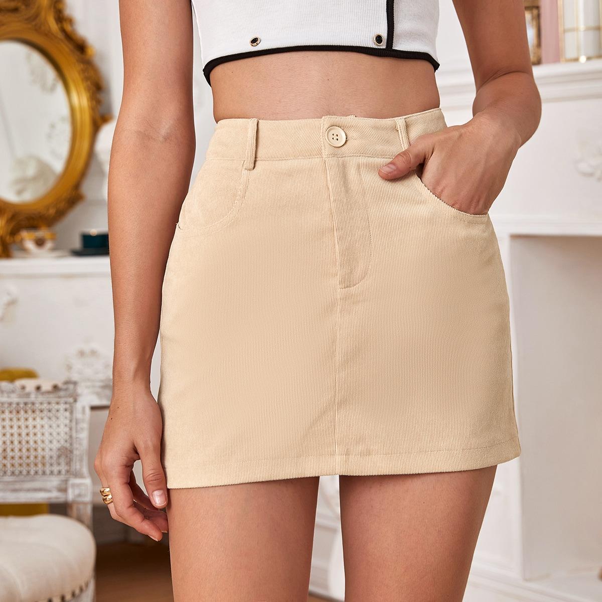 Вельветовая юбка с высокой талией