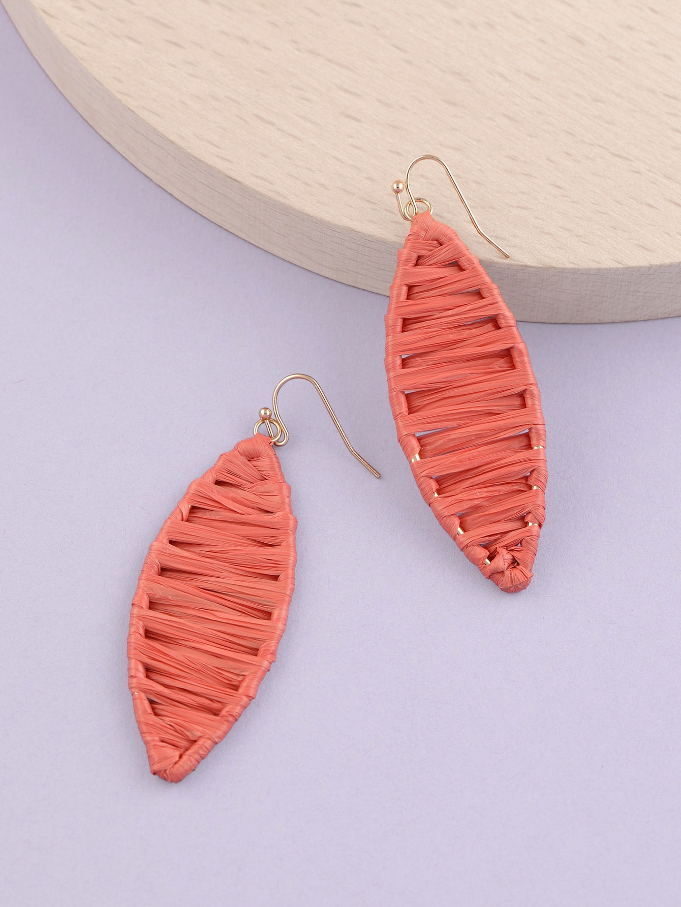 1pair long oval wrapped earrings