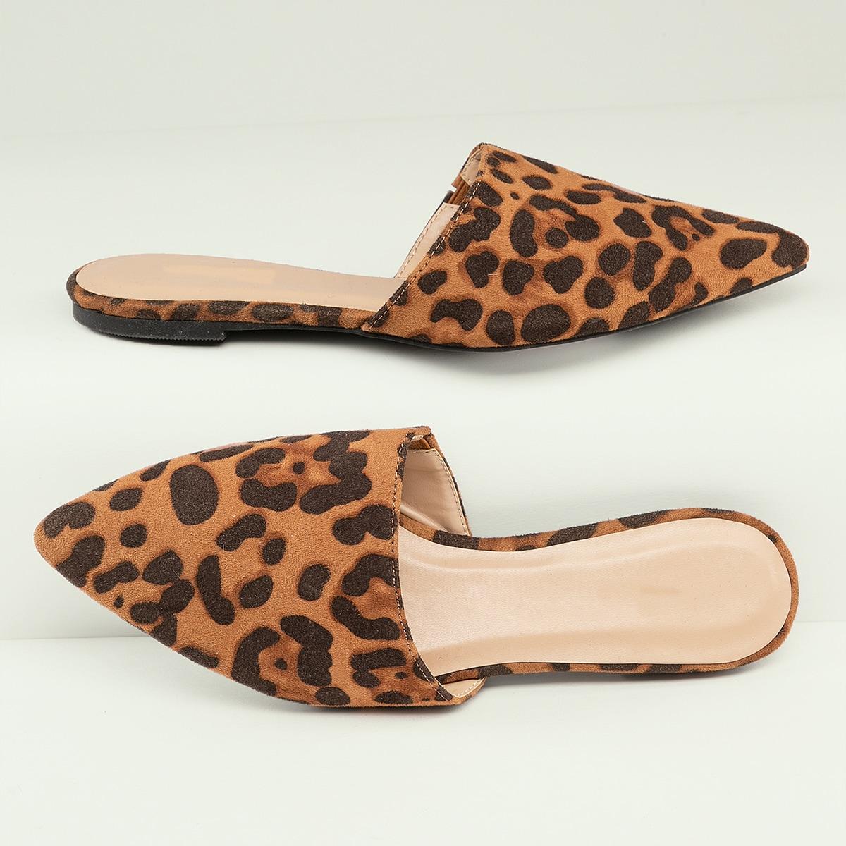 Остроконечные мюли на плоской подошве с леопардовым принтом