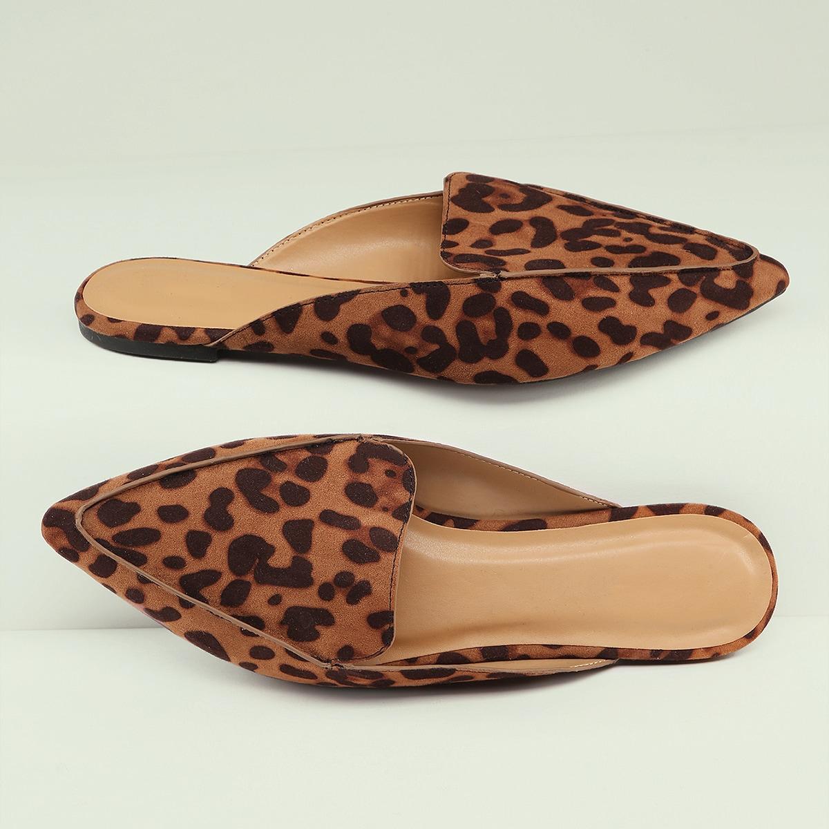 Леопардовые мюли с случайной подошвой и отделкой