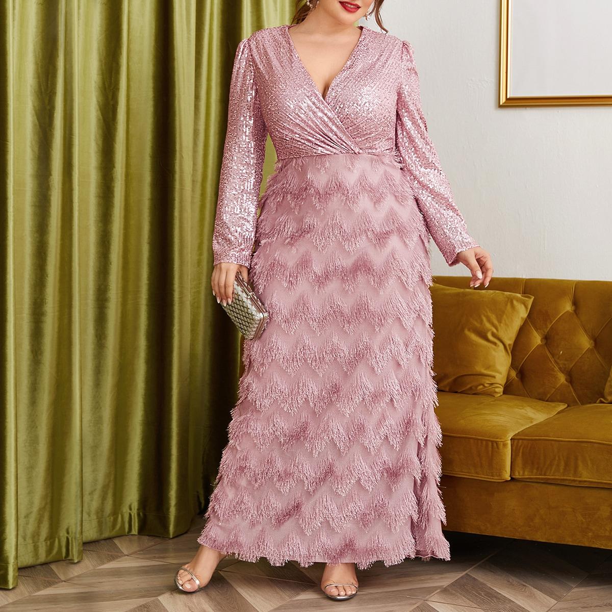 Контрастное блестящее платье размера плюс с бахромой и v-образным воротником