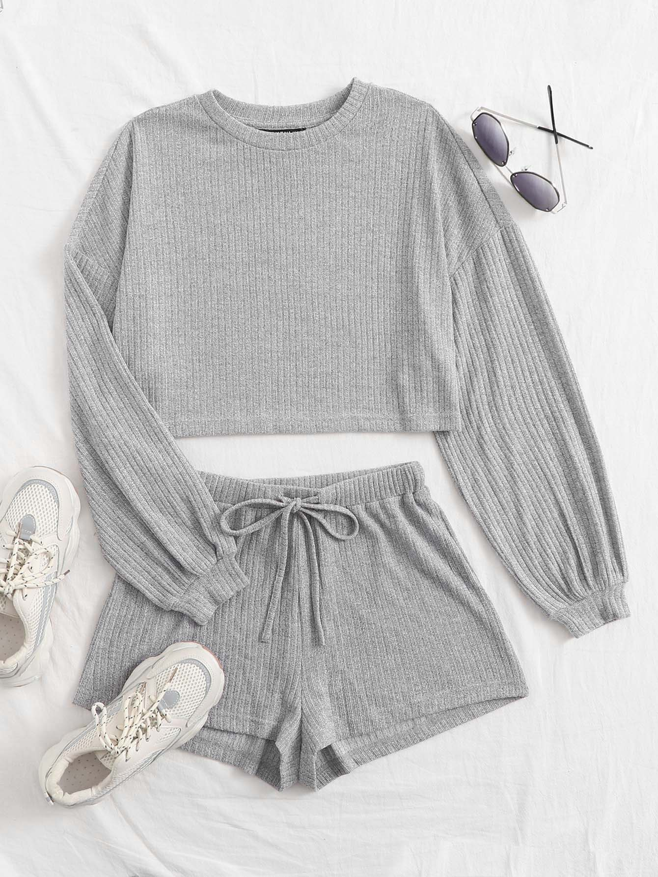 Plus Drop Shoulder Rib-knit Top & Shorts Set thumbnail