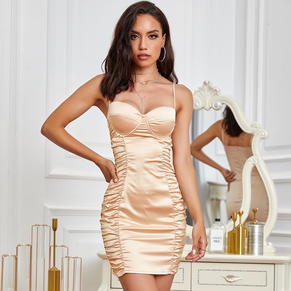 атласное платье со сборками и молнией сзади SheIn swdress42200722468