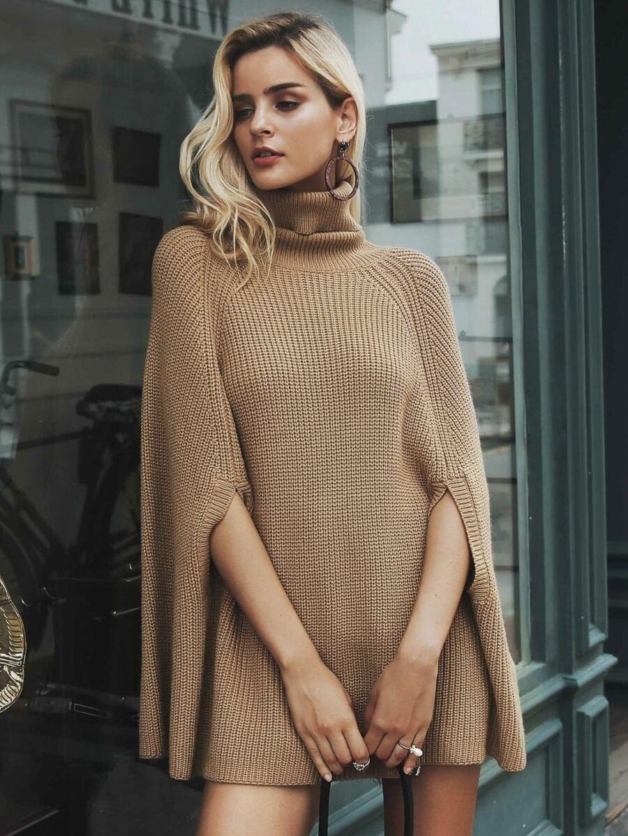 Boholuxe Turtle Neck Poncho Sweater